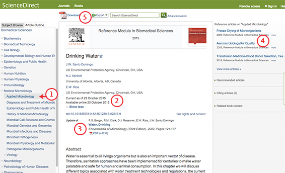 Navigating reference modules on ScienceDirect - Screenshot 1