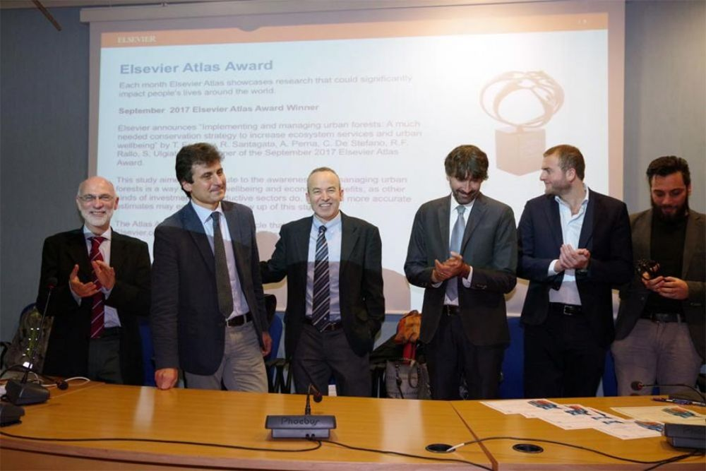 Sergio Ulgiati, Prof. Massimiliano Lega, Prof. Theodore Endreny, Dr. Claudio Colaiacomo of Elsevier, Dr. Renato Rallo and Dr. Remo Santagata at the Atlas Award Ceremony on 13 December 2017 at the University of Naples Parthenope