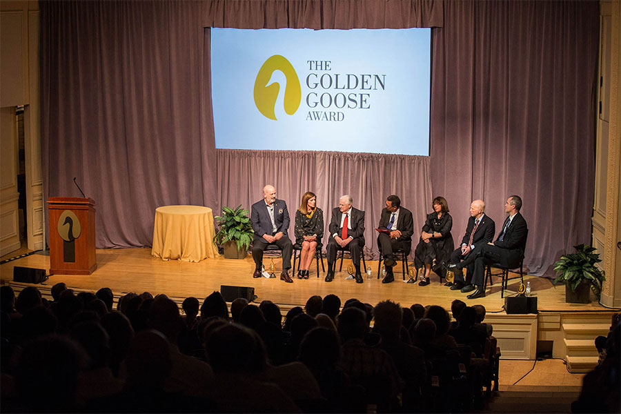 The Golden Goose Award panel (left to right): BJ Glick, Daral Glick, Dr. Stanley Cohen; Dr. Rush Holt (moderator), Dr. Mahzarin Banaji, Dr. Anthony Greenwald and Dr. Brian Nosek (Photo by Rachel Couch, A Muse Photography)