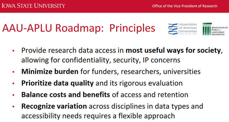 The AAU-APLU Roadmap includes these principles for open science.