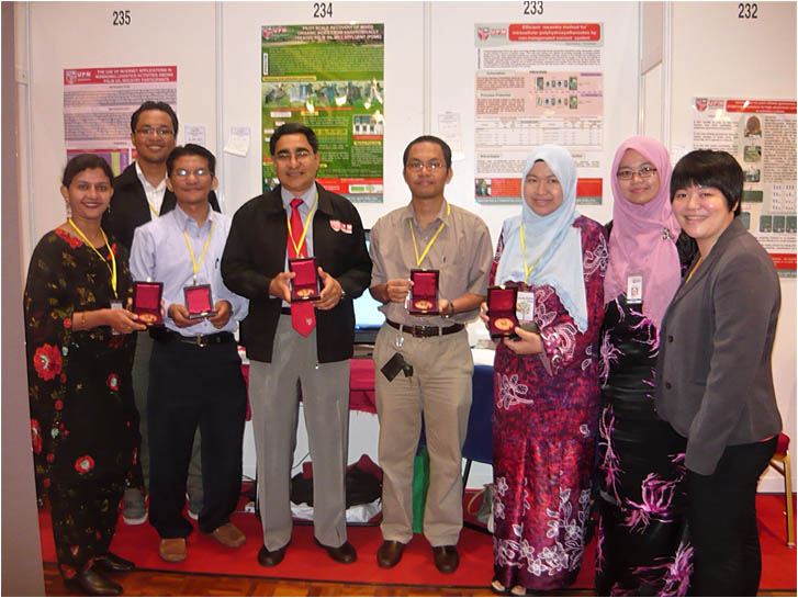 Dr. Tabassum Mumtaz (far left) poses with her gold medal along with the winners of Universiti Putra Malaysia's Inter-University Invention, Research and Innovation Exhibition.