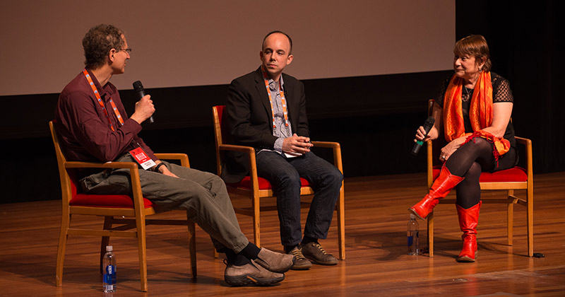 Stephen Totilo (center), Editor-in-Chief of the video gaming site Kotaku, interviews Michael Abrash, PhD, and Jacquelyn Ford Morie, PhD
