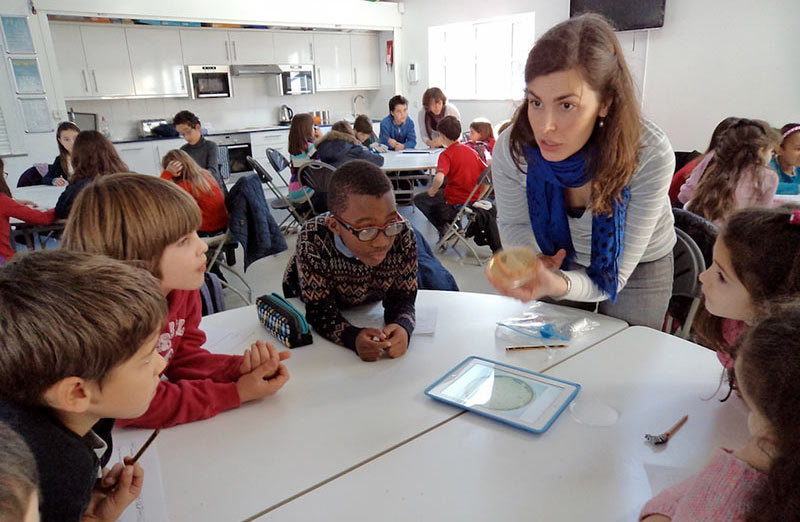 Dr. Joana Moscoso works with students in a London classroom as part of the Native Scientist program. She is showing the food of bacteria and explaining how bacteria cause infections. (Photo by Vanda Araújo)