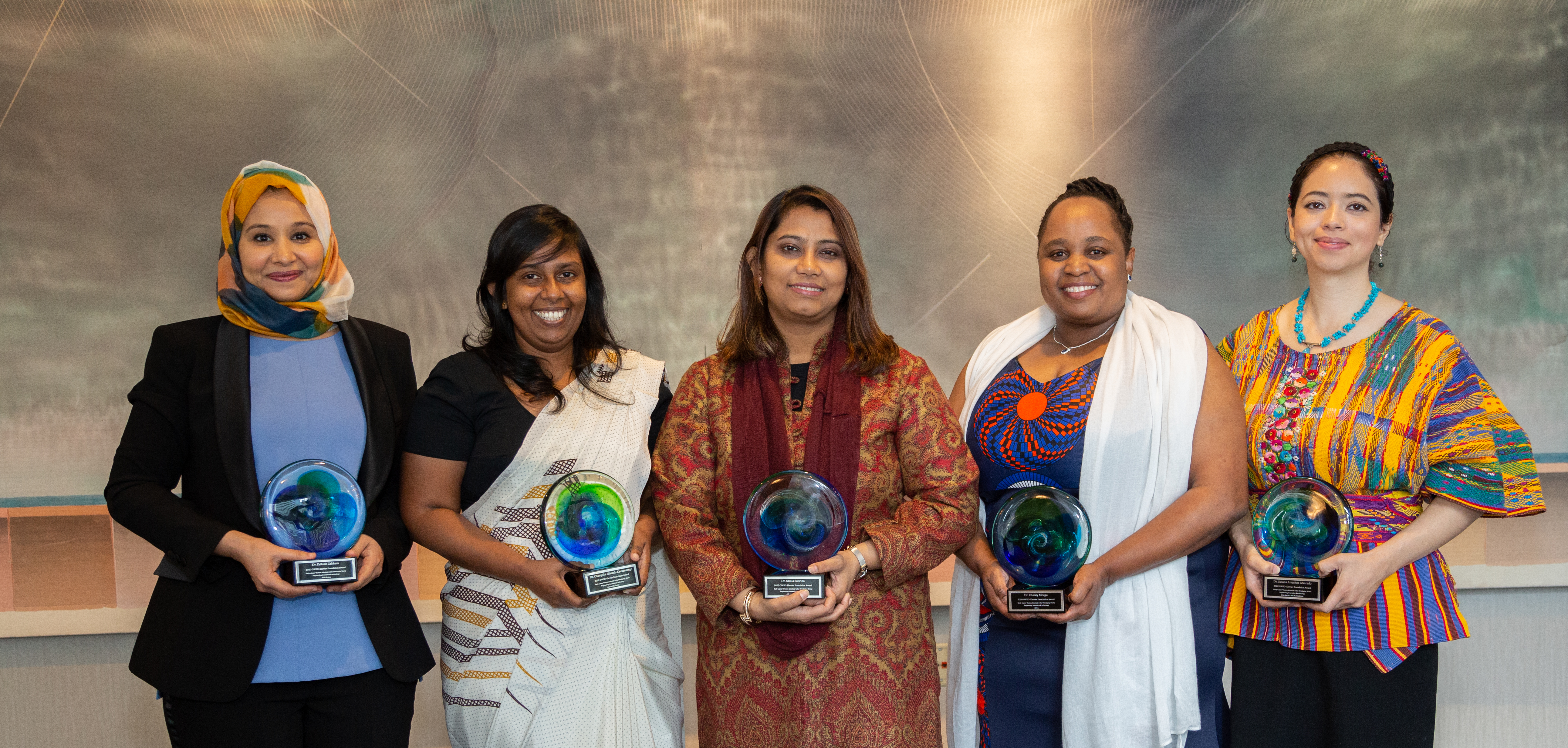 "The winners of the <a href=""https://www.elsevier.com/connect/live-from-aaas-in-seattle-follow-our-award-winning-women-in-science"" target=""_blank"">2020 OWSD-Elsevier Foundation Award for Women Scientists in the Developing World</a> following the award ceremony at the 2020 Annual AAAS Meeting. (Photo by Alison Bert)"