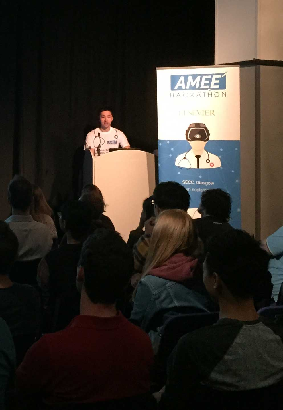 AMEEHacks organizer Jeremy Chui welcomes the participants