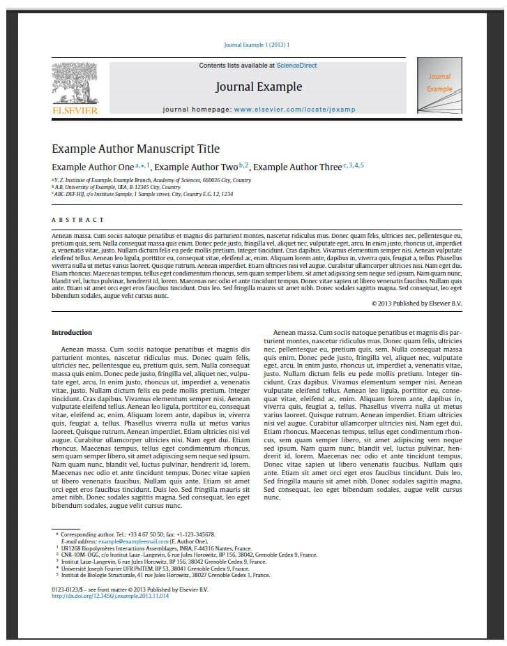 example of published journal article
