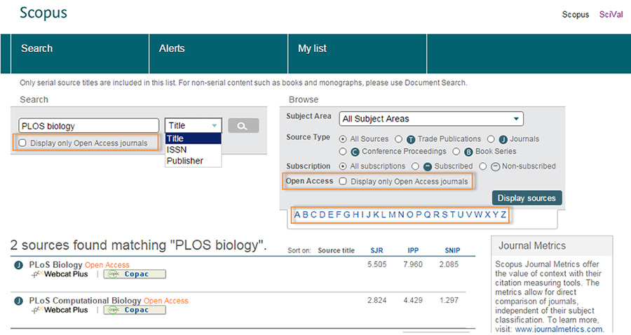 Via Scopus's Browse Sources journal page, you can search for open access journals based on a journal's title, ISSN or publisher, subject area, or by using the alphabet for the first letter of the journal's title.