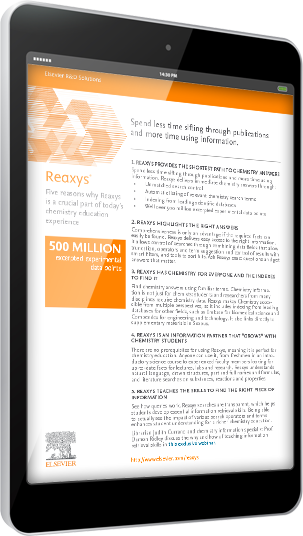 Five reasons why Reaxys is a crucial part of today's chemistry education experience