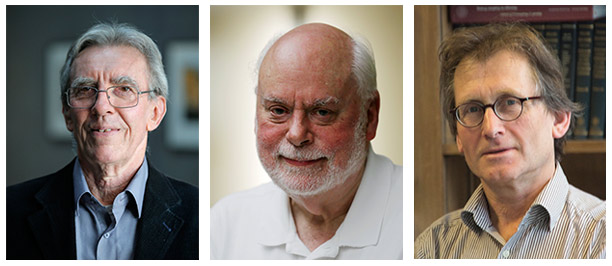Prof. Jean-Pierre Sauvage, PhD, Sir J. Fraser Stoddart, PhD, and Prof. Bernard L. Feringa, PhD (Credit: ANC)