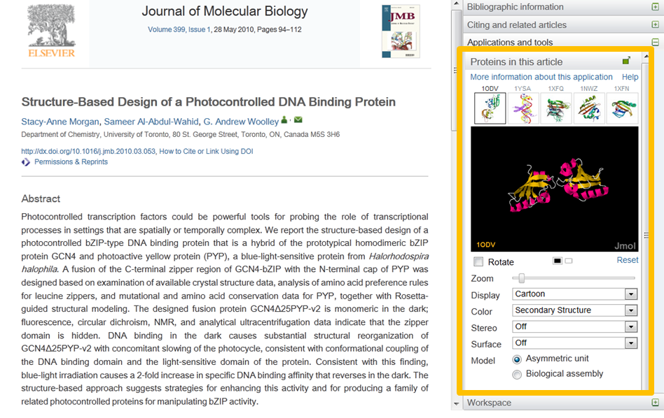 The Protein Viewer supports interactive visualization of the proteins discussed