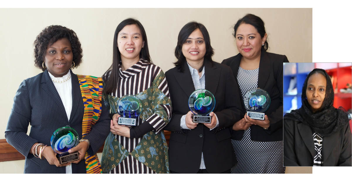 The winners of the OWSD-Elsevier Foundation Award for Early-Career Women in Science in the Developing World, left to right: Grace Ofori-Sarpong, PhD (Ghana); Felycia Edi Soetaredjo, PhD (Indonesia); Tanzima Hashem, PhD (Bangladesh); María Fernanda Rivera Velásquez, PhD (Ecuador); and Rania Mokthar, PhD (Sudan), who did not attend the Award ceremony because of the recent travel ban. (Main photo by Alison Bert)