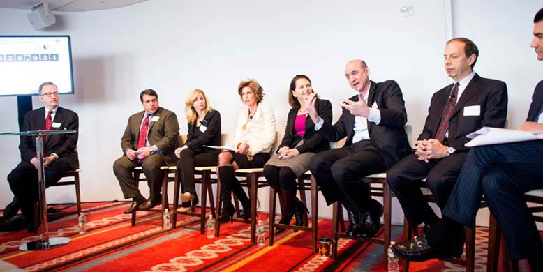 The Panel (left to right): Moderator Jim Pinkerton (Fox News); Robert Hariri, MD, PhD (Celgene Cellular Therapeutics) Julie Fleshman (PanCAN), Laurie MacCaskill (PanCAN); Amy Abernethy, MD, PhD (Duke Center for Learning Health Care); Clifton Leaf (journalist and author); Frank Lichtenberg, PhD (Columbia University); and Scott Gottlieb, MD (Stamford Hospital and American Enterprise Institute). (Photo by Andrew Theodorakis)