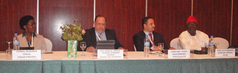Panelists included (left to right) Chiinga Musonda, Senior Strategy Manager for Elsevier; Prof. Maged Al-Sherbiny, President of the Academy of Scientific Research and Technology and Vice-Minister for Scientific Research of Egypt; Ahmed Abd Elnaby, Account Manager for Africa at Elsevier; and Prof. Michel Faborode, Secretary General of AVCNU.