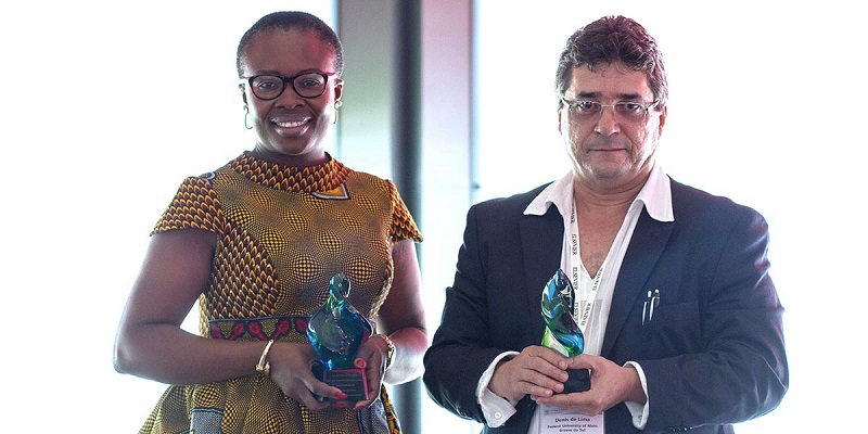 The winners of the 2017 Elsevier Foundation Green and Sustainable Chemistry Challenge are first-prize winner Dênis Pires de Lima, PhD, professor at Federal University of Mato Grosso do Sul, Brazil (right), and runner-up Chioma Blaise Chikere, PhD, lecturer at the University of Port Harcourt, Nigeria (left). (Photo by Dario Spoto)