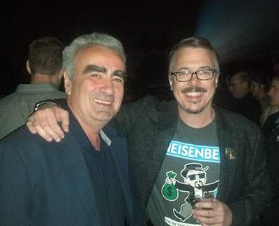 Dr. Marius Stan with Vince Gilligan, creator, producer and head writer for <em>Breaking Bad.</em>