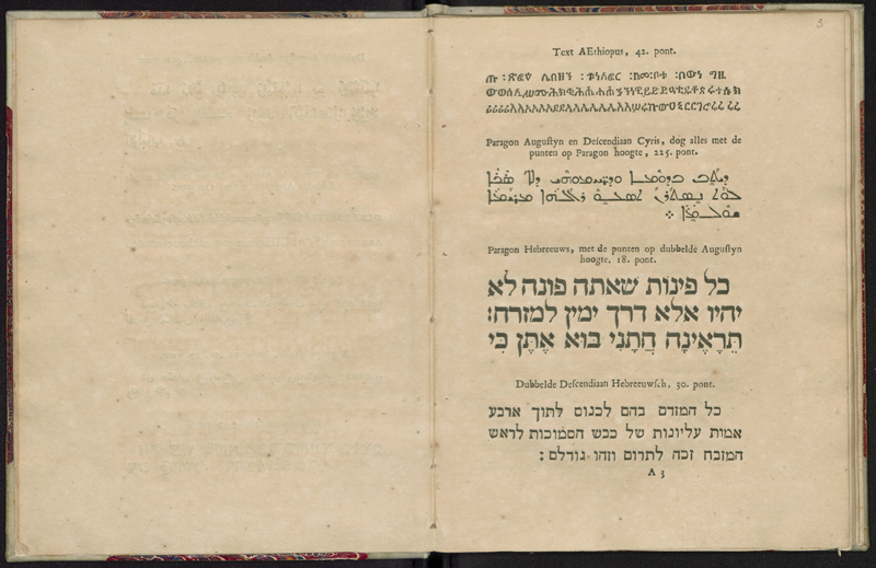 The Elzevier publishing house owned an extensive collection of fonts in various styles and sizes. This image is from the 1713 auction catalog, what marks the end of the Elzevier firm. The page shows one font of Aethiopic, two fonts of Aramaic, and two fonts of Hebrew, along