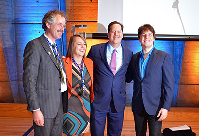 Dr. Charon Duermeijer poses with film director Nickolas Barris; Professor Jan van Ruitenbeek, President of the Dutch Physical Society; and violinist Joshua Bell after the IYL 2015 opening ceremony.