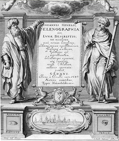 The Polish astronomer Johannes Hevelius chose to honor Ibn al-Haytham, alongside Galileo, in his most famous work on the Moon, <em>Selenographia</em>, published in 1647. Image is from his book's title page (Source: Houghton Library, Harvard University)
