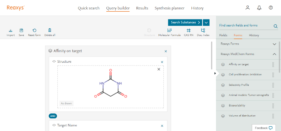 Use dedicated MedChem search forms - Reaxys |Elsevier Solutions
