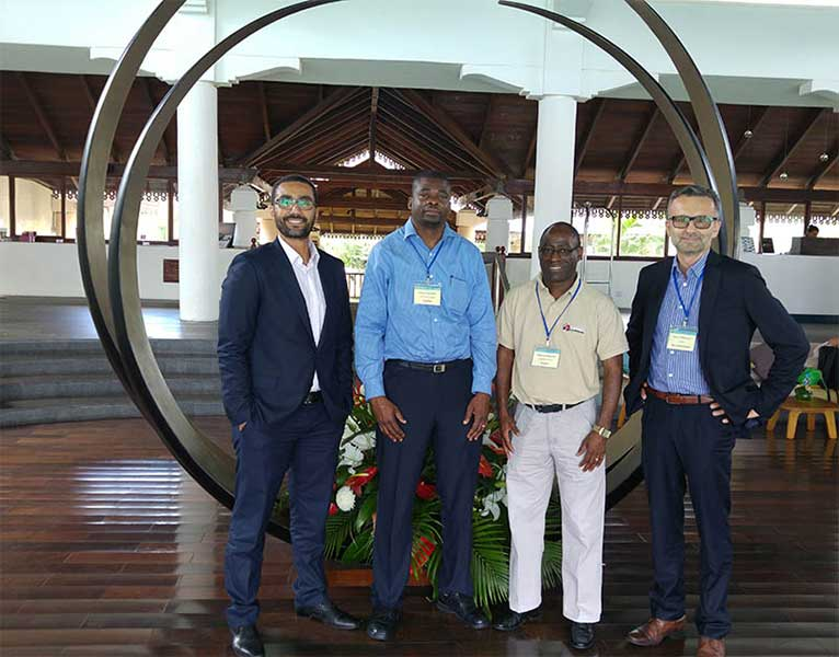 Elsevier colleagues at the International Conference on Pure and Applied Chemistry (ICPAC) – Mauritius, for which Elsevier was a Golden sponsor (left to right): Samer Gamal, Sales Manager Africa; Piotr Gołkiewicz, Sales Manager Life Science Solutions; and researchers from Africa attending.