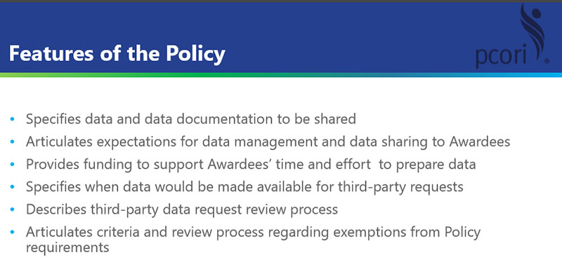 Features of PCORI's data-sharing policy.