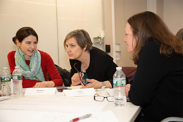 Dr. Stefanie Stantcheva, Professor of Economics, Harvard Faculty of Arts and Sciences; Anita de Waard, VP of Research Data Collaborations at Elsevier; and Dr. Mary Beth Landrum, Professor of Healthcare Policy, Harvard Medical School. (Photo by Alison Bert)