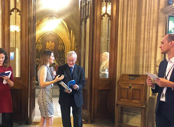The Rt Hon. the Lord Wallace of Tankerness QC discusses the guide with Errin Riley, Research and Policy Coordinator for Sense About Science, at Evidence Week in the UK Parliament.