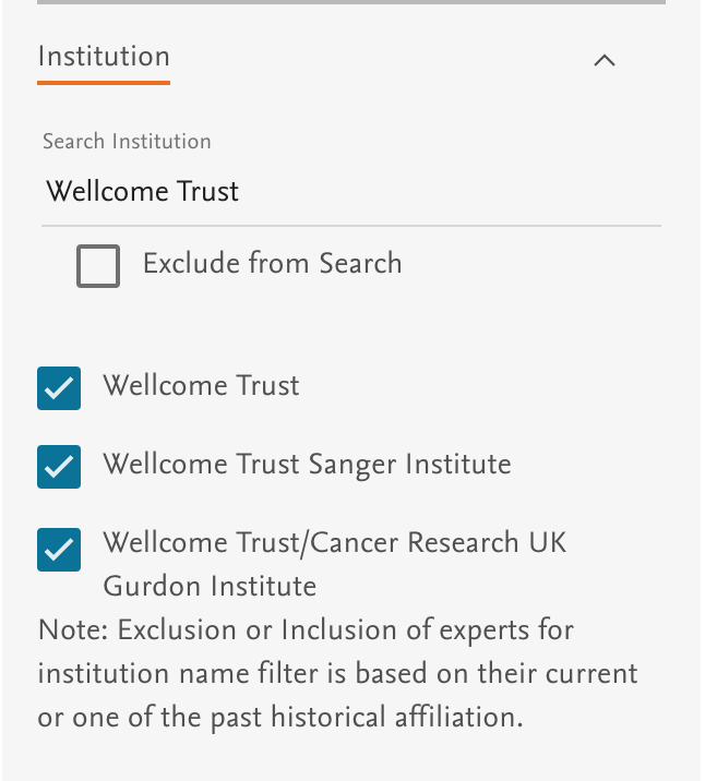 Expert Institution filter