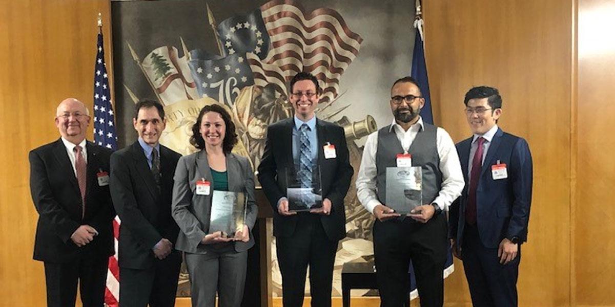 The 2018 ASPIRE Prize ceremony at the US State Department (from left): Dr. Brad Fenwick, Elsevier; Dr. Jonathan Margolis, Deputy Assistant Secretary, State Department; Dr. Kara Spiller, Assistant Professor, Department of Biomedical Engineering, Drexel University, US ASPIRE.