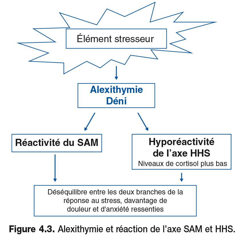 Figure 4.3 . Alexithymie et réaction de l'axe SAM et HHS.