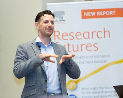 Elsevier Research Director Adrian Mulligan presents at The Future of Research summit at the University of Maryland, Baltimore.