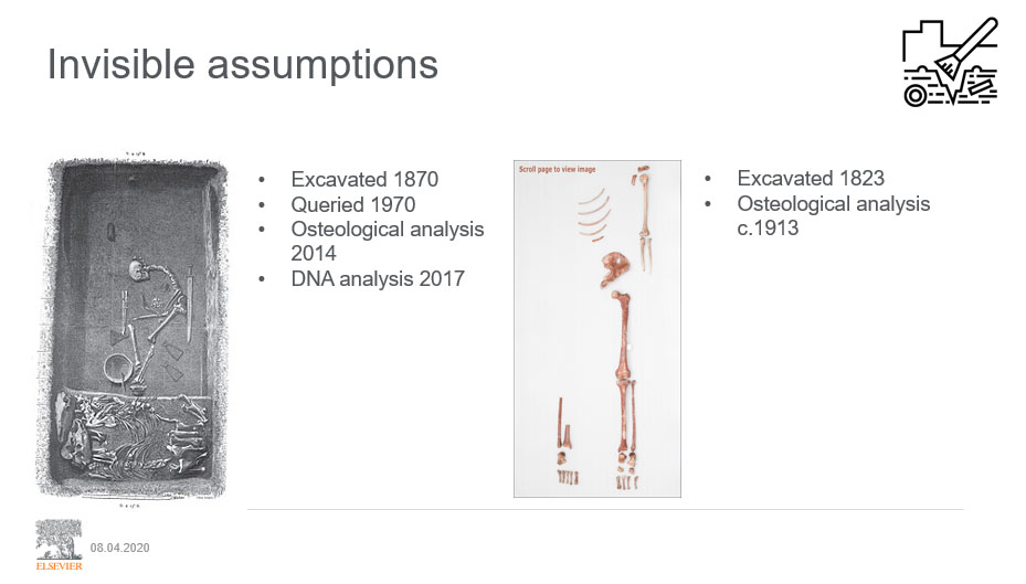 """This slide shows the remains of the Birka Viking Warrior (left) and the 'Red Lady of Paviland' (right). Karin Hilton, Elsevier's Senior Director of Technology, used it to show the lingering power of gender stereotypes at the <a href=""""https://www.europeanwomenintech.com/"""" target=""""_blank"""">2019 European Women in Technology summit</a>."""