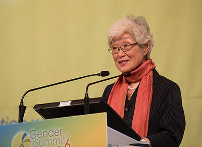 Prof. Heisook Lee, PhD, speaks at the Gender Summit 6 Asia Pacific.