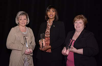 <strong>Winners of the 2014 Elsevier Leading Stars In Education (ELSIE) Awards</strong>: (left to right) Mashawna Hamilton, MSN, RN (Simulation), Schenita Davis Randolph, PhD, MPH, RN, CNE (Clinical Education), Kimberly Dudas, PhD(c), RN, ANP-BC, CNE (Active Learning in the Classroom).