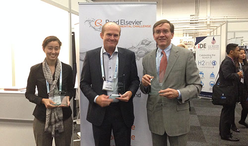 Winners of the 2014 Reed Elsevier Environmental Challenge (left to right): Yoshika Crider (Stanford University) WASH Alliance prize; Karsten Gjefle (SuSan Design), first prize; Christopher Schulz (Ecofiltro), second prize.