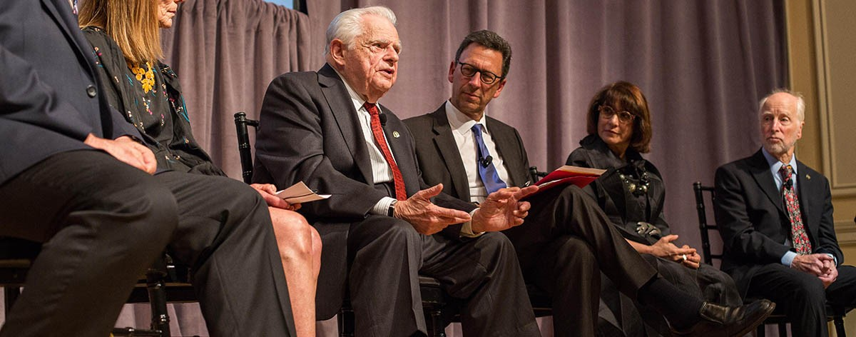 Stanley Cohen, MD, speaks on the panel of Golden Goose Award winners. (Photo by Rachel Couch, A Muse Photography)