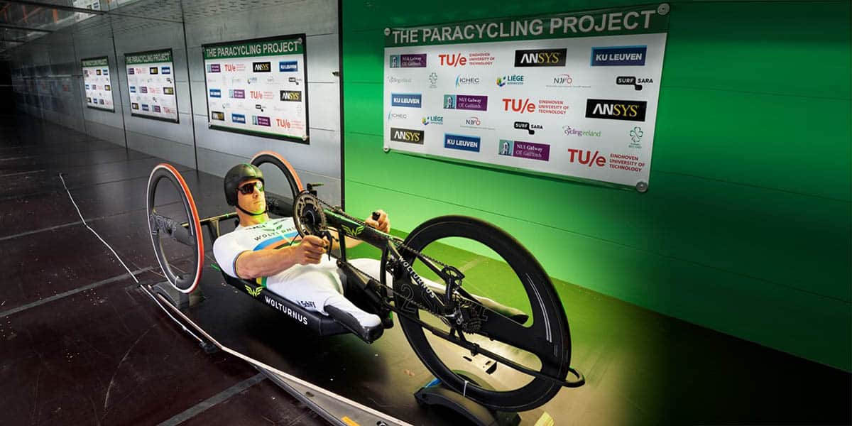 Dutch handcycling world champion Jetze Plat in the wind tunnel at Eindhoven University of Technology. (Photo by Bart van Overbeeke)