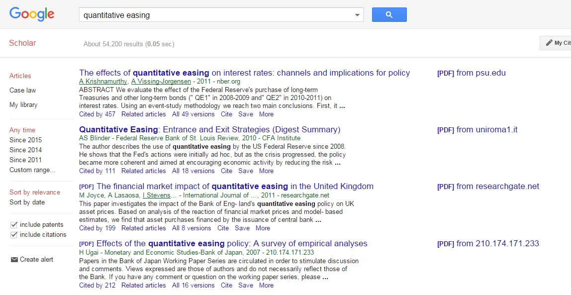 Google search for 'quantitative easing