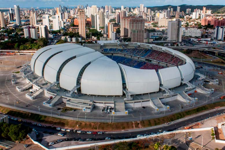 The Arena das Dunas in Natal is one of seven new stadiums built for the 2014 World Cup games in Brazil. Five others have been renovated. (Source: Portal da Copa do Mundo, Creative Commons Attribution 3.0 Brazil)