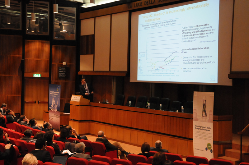 Dr. Michiel Kolman presents an analysis by the SciVal Analytics team of Elsevier's Academic and Government Markets department at the National Research Policy Forum in Rome November 14.