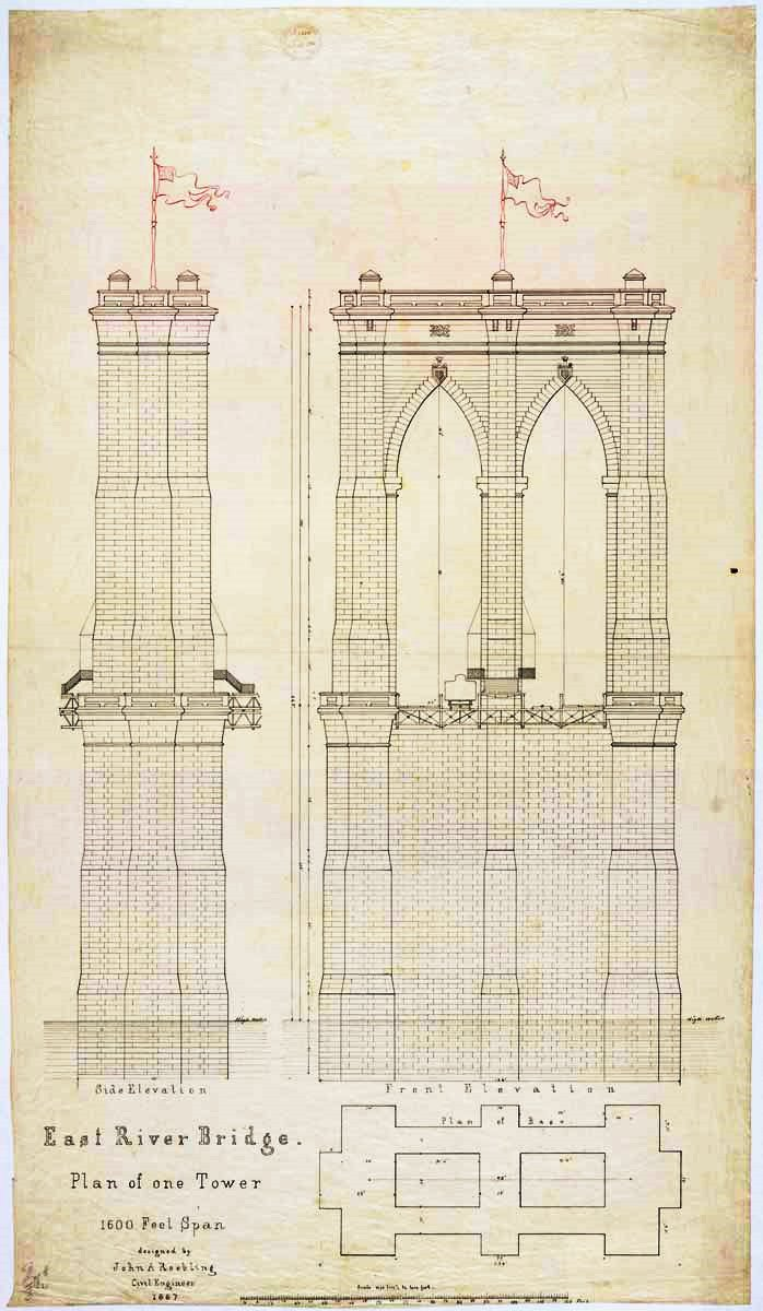 Tower plan for East River Bridge, 1867 (now the Brooklyn Bridge). From the US National Archives