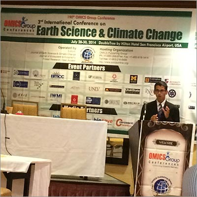 Suganth Kannan presents at the 3rd International Conference on Earth Science & Climate Change in San Francisco, predicting that a major earthquake would be striking that region within six months.