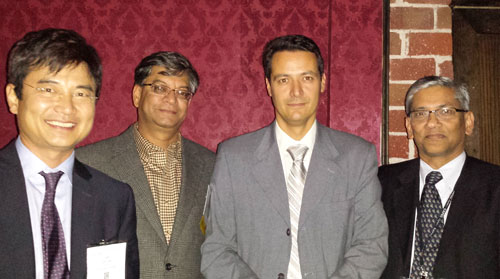 Left to right: Jay Lee (Editor), Venkat Venkatasubramanian (Editor), Christos T. Maravelias (Winner), Rafiqul Gani (Editor-in-Chief)