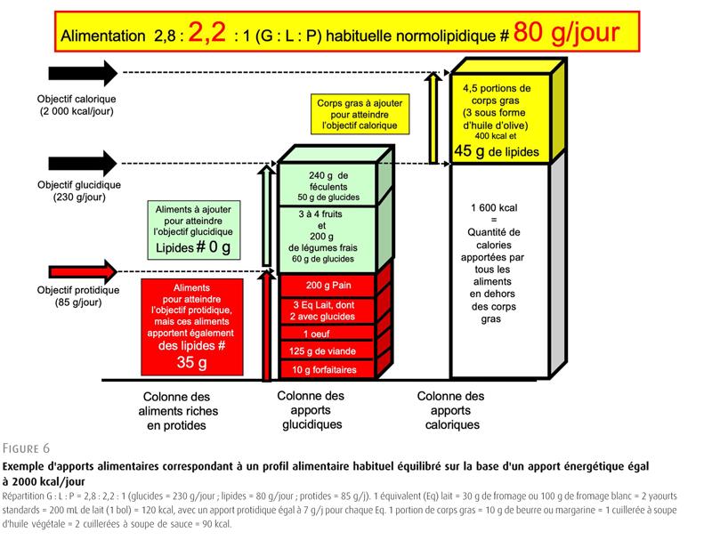 Figure 6. Exemple d'apports alimentaires correspondant à un profil alimentaire habituel équilibré sur la base d'un apport énergétique égal à 2000 kcal/jour