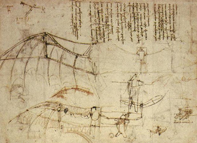 Leonardo da Vinci's design for a flying machine (c. 1488) was inspired by the flight of bats.