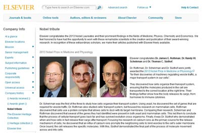 Elsevier's 2013 Nobel Tribute site