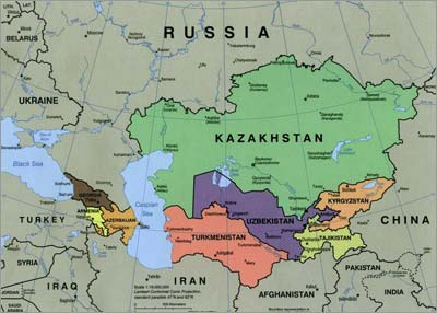 Kazakhstan is bordered by Russia to the north and China to the east. Its territory of 2.7 million square kilometers (1.1 million square miles) is 60 percent as large as Europe, but its population of 17.7 million is just 3.5 percent that of the European Union. (Sources: Map from Wikipedia, with percentages recalculated by the authors.)
