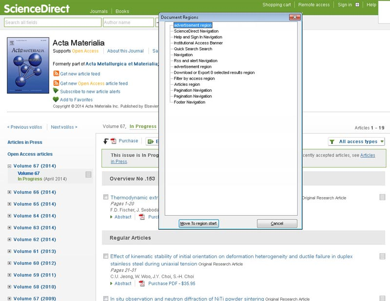 In this example a user of JAWS has brought up a list of Document Regions (or landmarks) for a Journal Homepage. Lists of regions and other page elements are shortcuts to help someone who can't see the visual layout to more easily orient to a page's contents and move around more quickly. ScienceDirect has specifically put in logical page regions to allow someone using JAWS to use the product more easily.