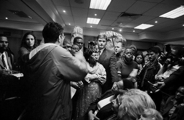 Zackie Achmat confronts Minister of Health Manto Tshabala-Msimang about antiretroviral roll out. (Photo courtesy of UCT Special Collections)