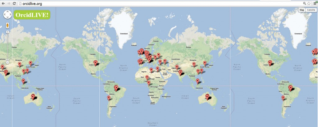 On orcidLIVE! visitors can see where in the world ORCIDs are being created and edited.